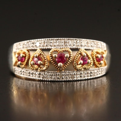 Sterling Silver Ruby and Diamond Heart Openwork Ring