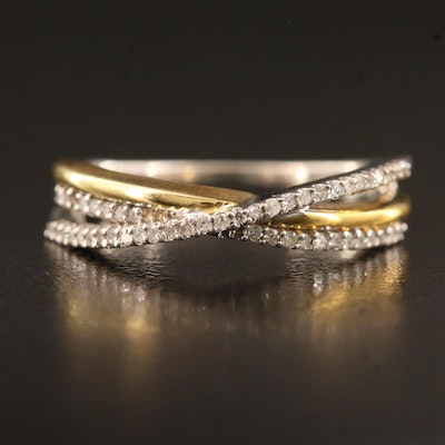 Sterling Silver Diamond Crossover Band