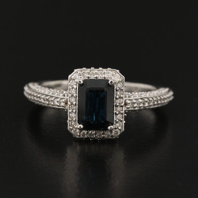 14K Sapphire Ring with Diamond Shoulders and Halo