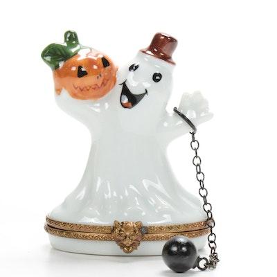 La Gloriette Hand-Painted Porcelain Halloween Ghost Limoges Box