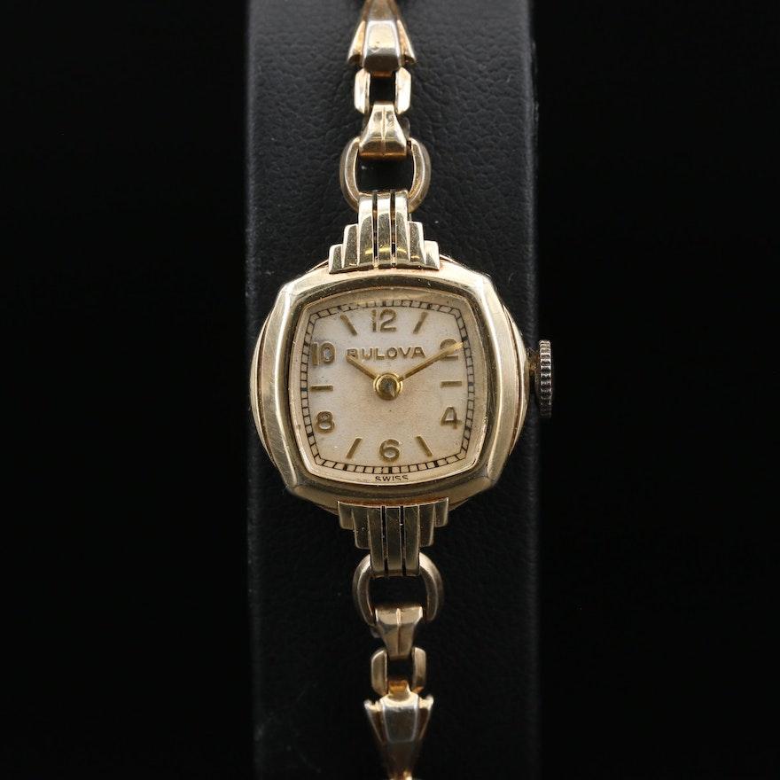 Vintage Bulova Rolled Gold Plate Stem Wind Wristwatch