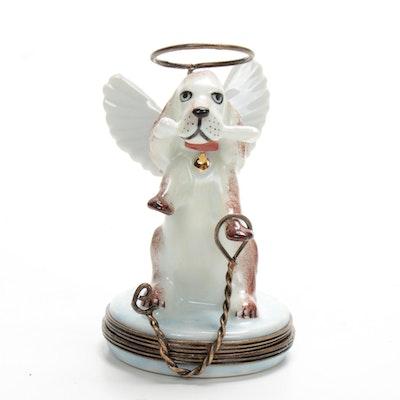 La Gloriette Hand-Painted Porcelain Angel Dog Limoges Box