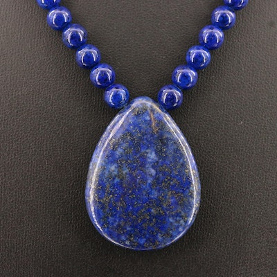 Lapis Lazuli and Faux Lapis Lazuli Necklace with Sterling Clasp