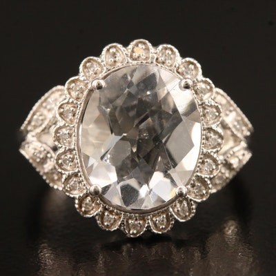 Sterling Silver Quartz Ring with Floral Diamond Halo