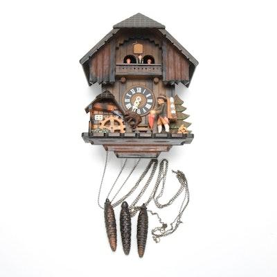 German Cuckoo Clock with Wooden Alpine Figures