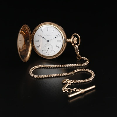 1899 Elgin Gold Filled Hunting Case Pocket Watch with Chain Fob