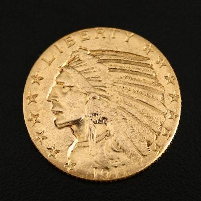 1911 Indian Head $5 Gold Half Eagle Coin
