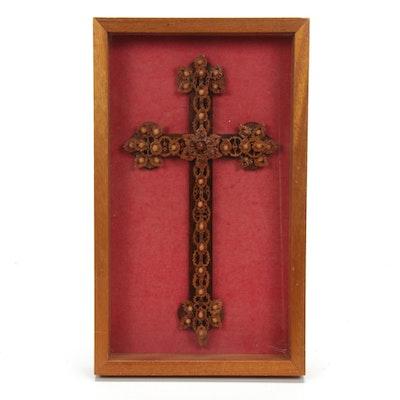 Glazed Walnut Shell Decorative Cross