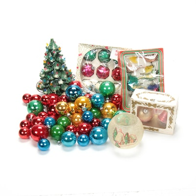 """Ceramic Tabletop Christmas Tree with """"Shiny Brite"""", """"Krebs"""" and Other Ornaments"""
