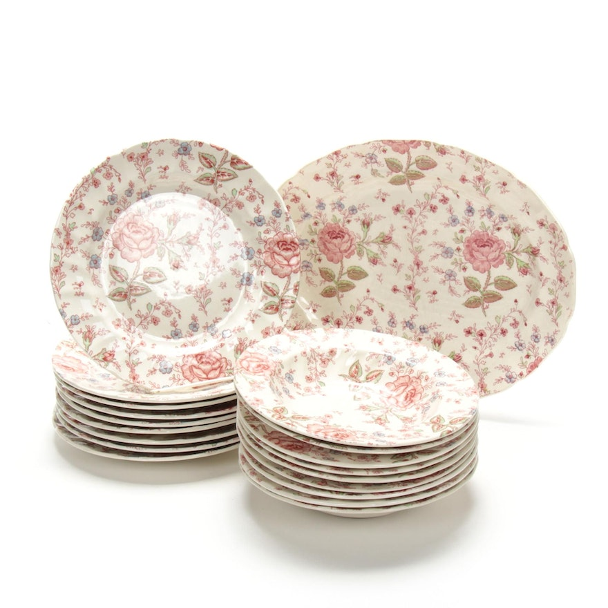 """Johnson Brothers """"Rose Chintz Pink"""" Tableware, Late 20th Century"""