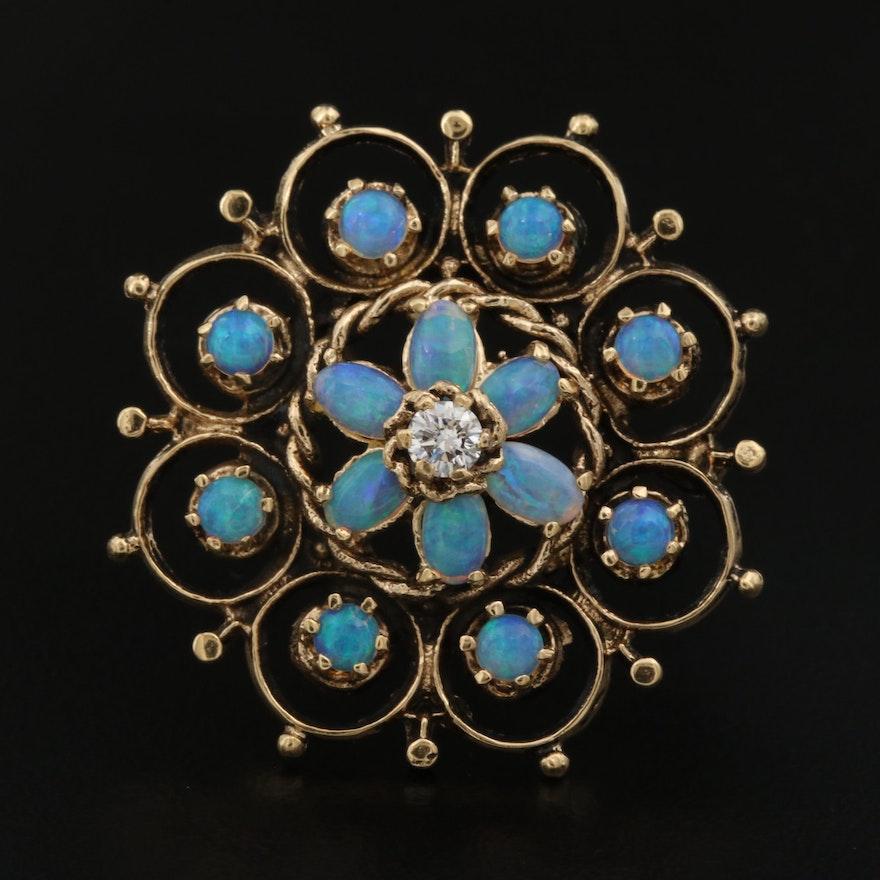 Vintage 14K Opal and Diamond Medallion Motif Brooch