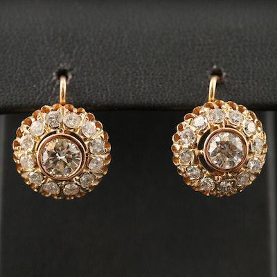Russian 14K  3.28 CTW Diamond Openwork Drop Earrings
