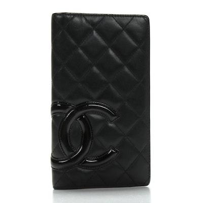 Chanel Cambon Lambskin Long Bi Fold Black and Hot Pink Wallet