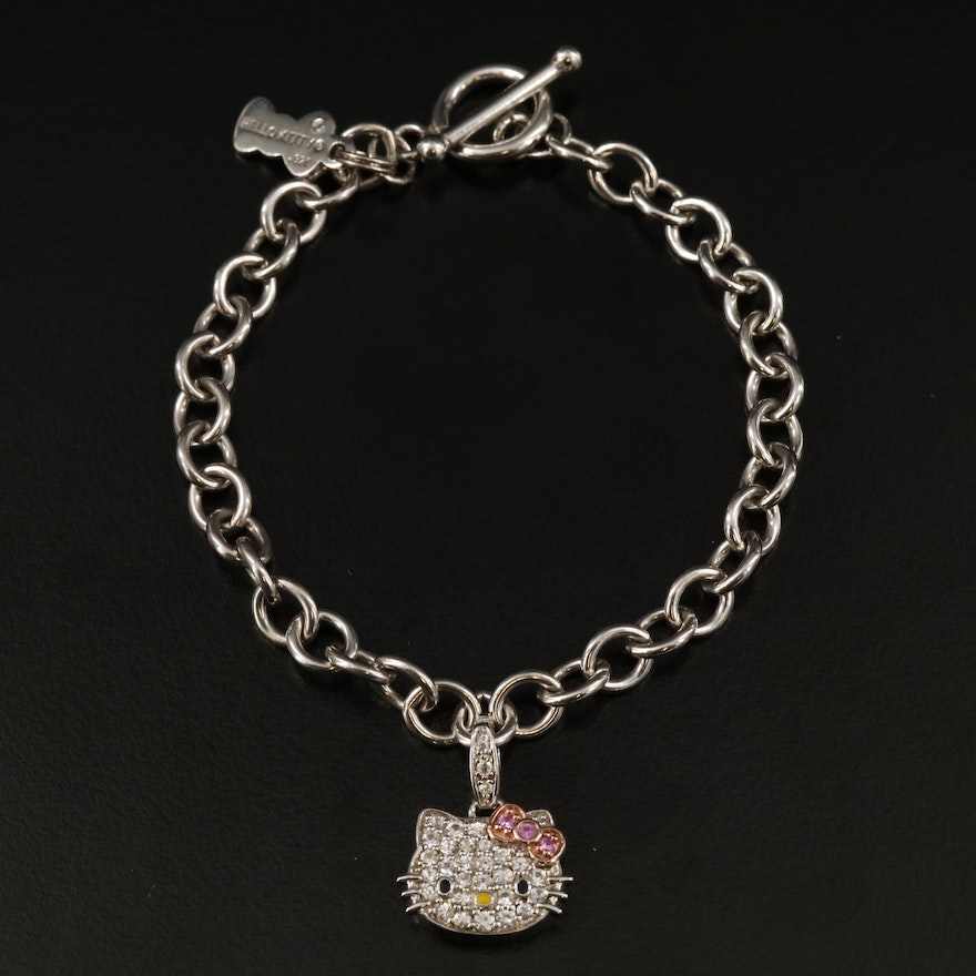 Hello Kitty Sterling Silver Pink and White Sapphire Charm Bracelet
