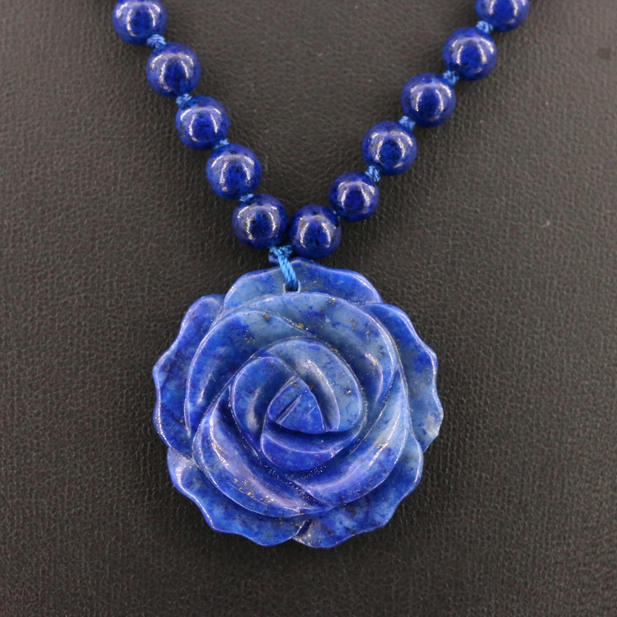 Carved Lapis Lazuli Flower Pendant with Bead Necklace and Sterling Clasp