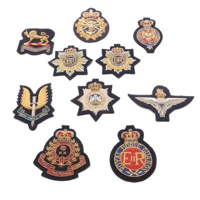 British Royal Army Service Patches Including SAS, Paras, and Household Cavalry
