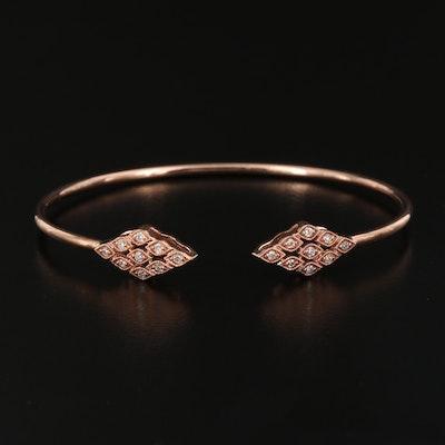 10K Rose Gold Diamond Milgrain Cuff