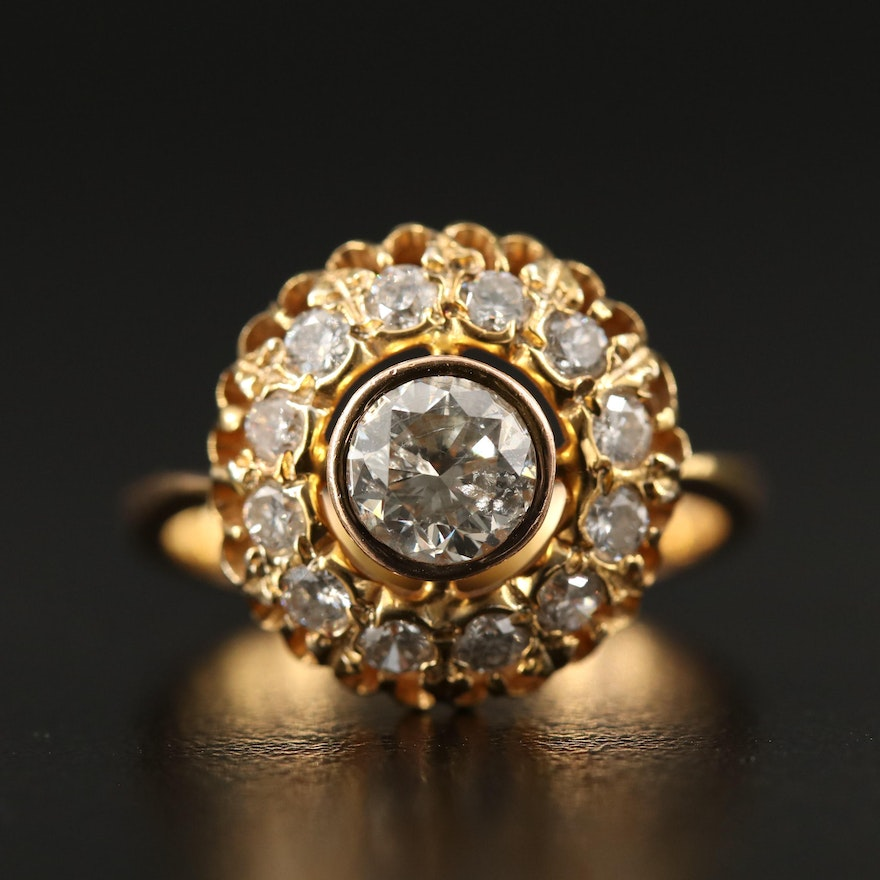 Russian 14K 1.82 CTW Diamond Openwork Ring