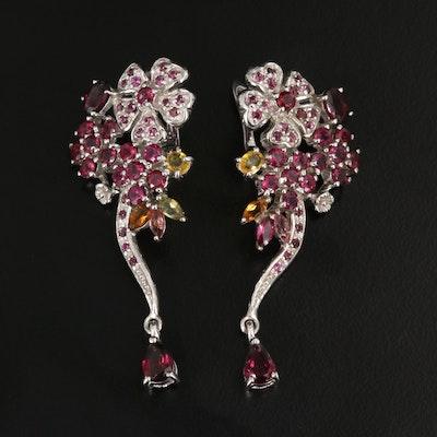 Sterling Garnet and Fancy Color Sapphire Dangle Earrings