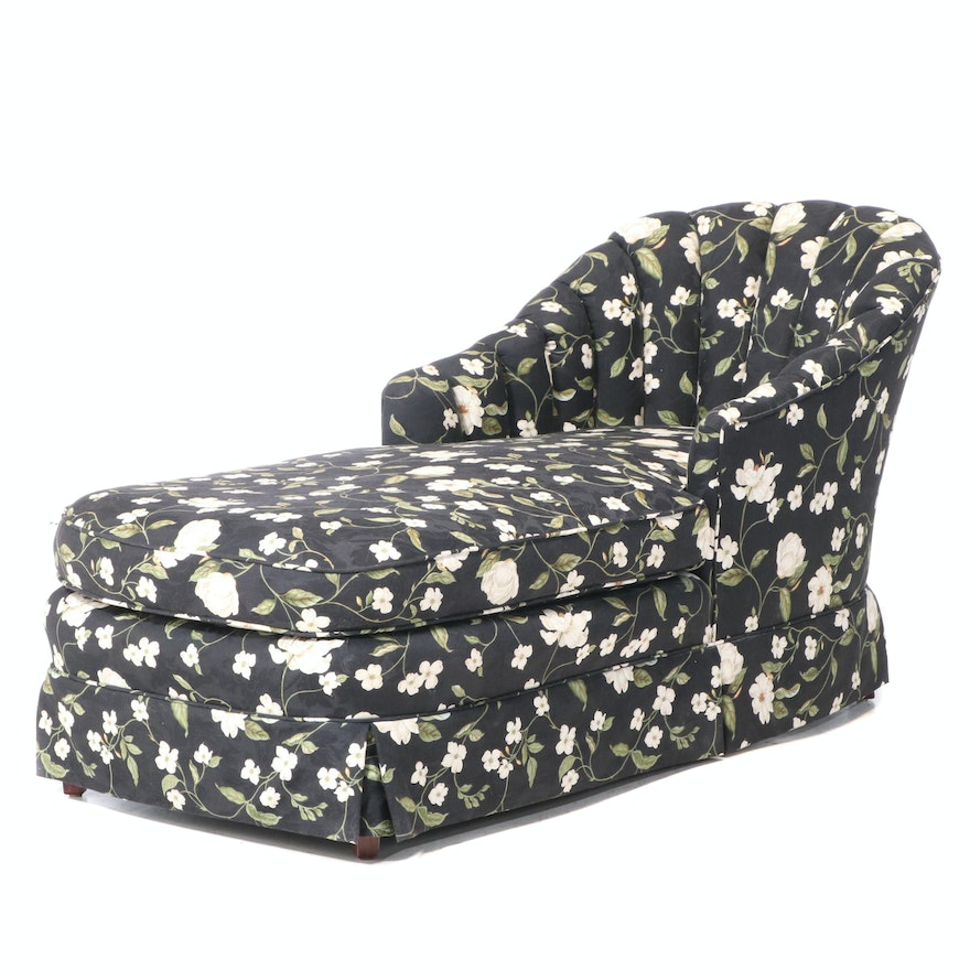 """Upholstered Chaise Lounge in Waverly """"Magnolia Vine"""" Fabric"""