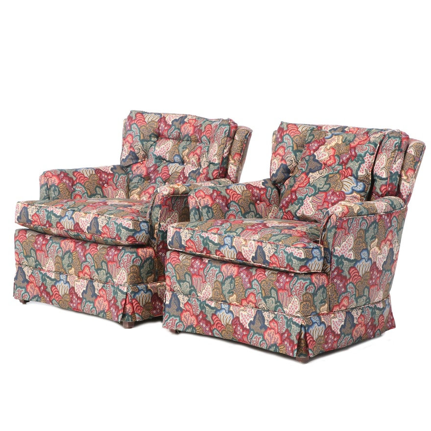 "Pair of Upholstered Easy Armchairs in Waverly ""Village Quilt Classics"" Fabric"