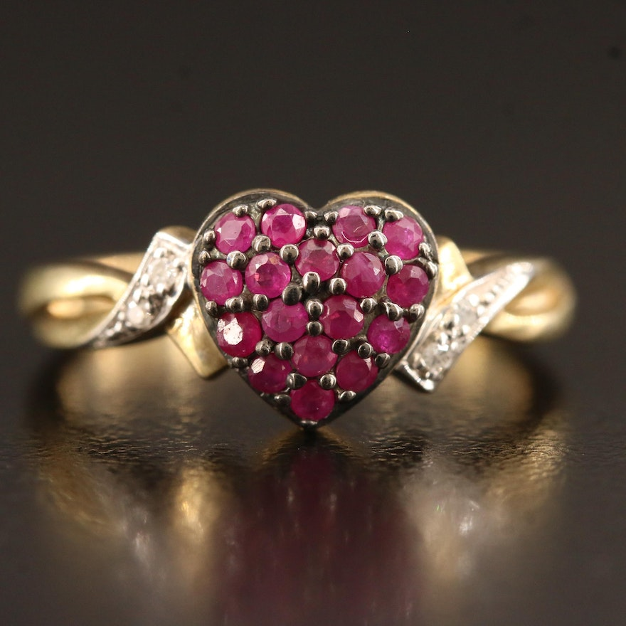 Sterling Silver Ruby and Diamond Pavé Heart Ring