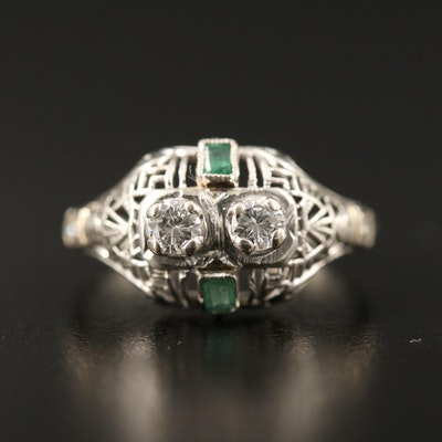 Art Deco 18K Diamond and Emerald Openwork Ring