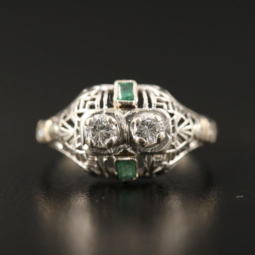 Art Deco 18K Diamond and Emerald Openwork Ring