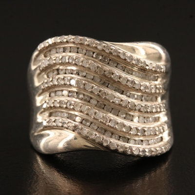 Sterling Silver 1.00 CTW Diamond Wave Ring