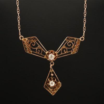 Circa 1910 10K Buttercup Set Diamond Lavalier Necklace