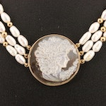 14K Mother of Pearl and Semi-Baroque Pearl Strand Necklace