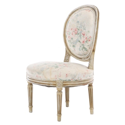 Small Louis XVI Style Painted and Parcel-Gilt Side Chair, Late 19th Century