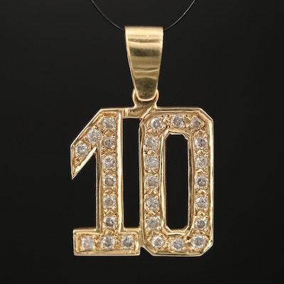 14K Diamond '10' Pendant