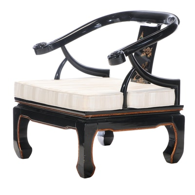 Chinese Style Black Lacquer, Parcel-Gilt, and Painted Horseshoe-Back Armchair
