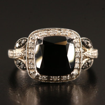 Sterling Black Onyx and Diamond Ring with Foliate Detail