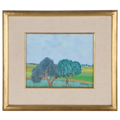 Oil Painting of Landscape with Two Trees