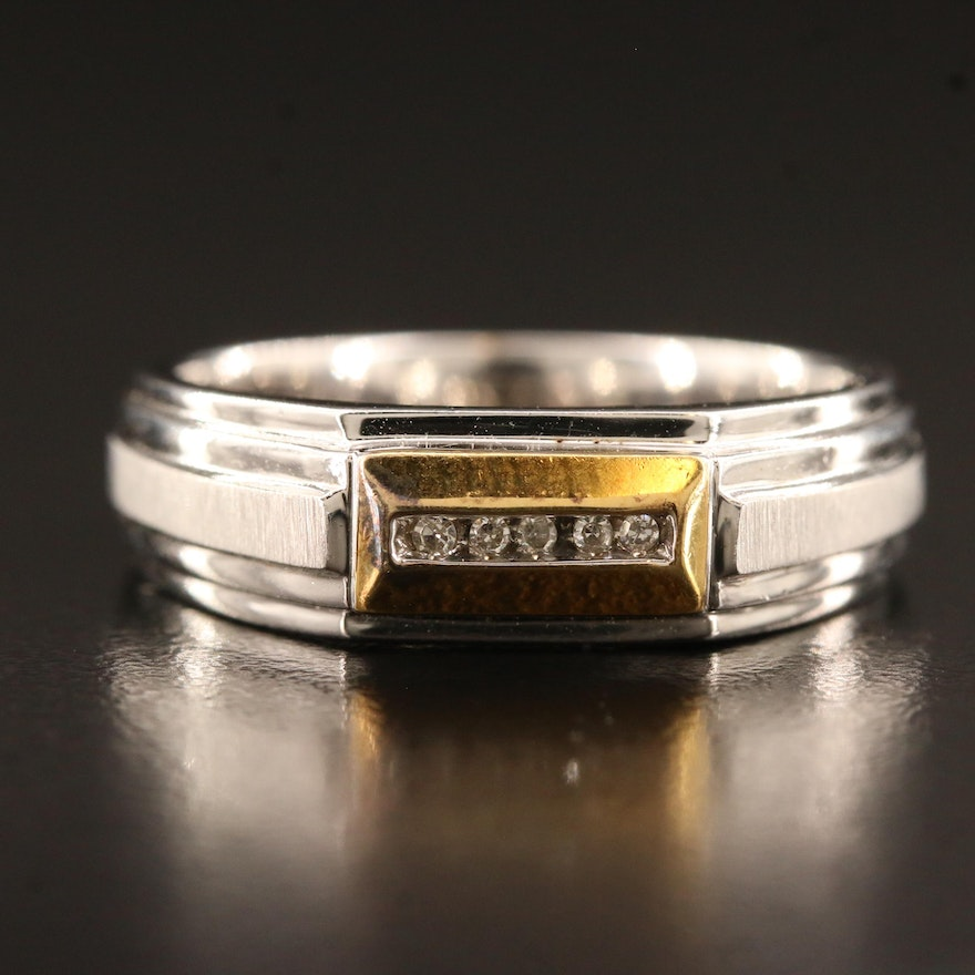 Sterling Diamond Channel Band