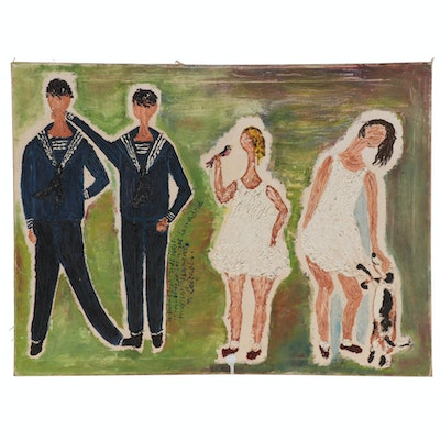 Folk Art Impasto Oil Painting of Sailors, Girls, and Dog