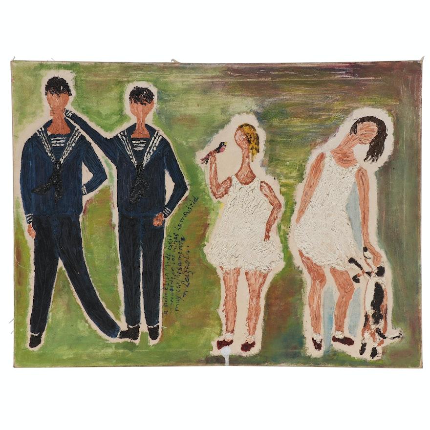 Folk Art Impasto Oil Painting of Sailors, Girls, and Dog