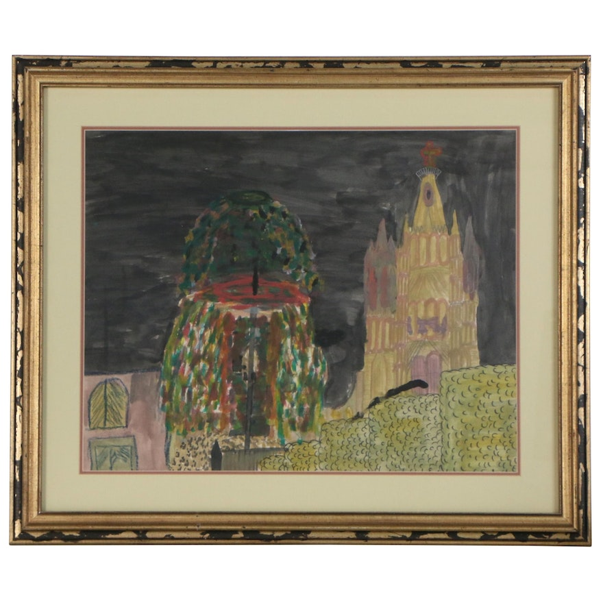 Jose Luis Naive Mixed Media Nocturne Landscape with Church