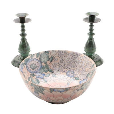Faux Verdigris on Black Candlesticks and Hand-Painted Ceramic Floral Bowl