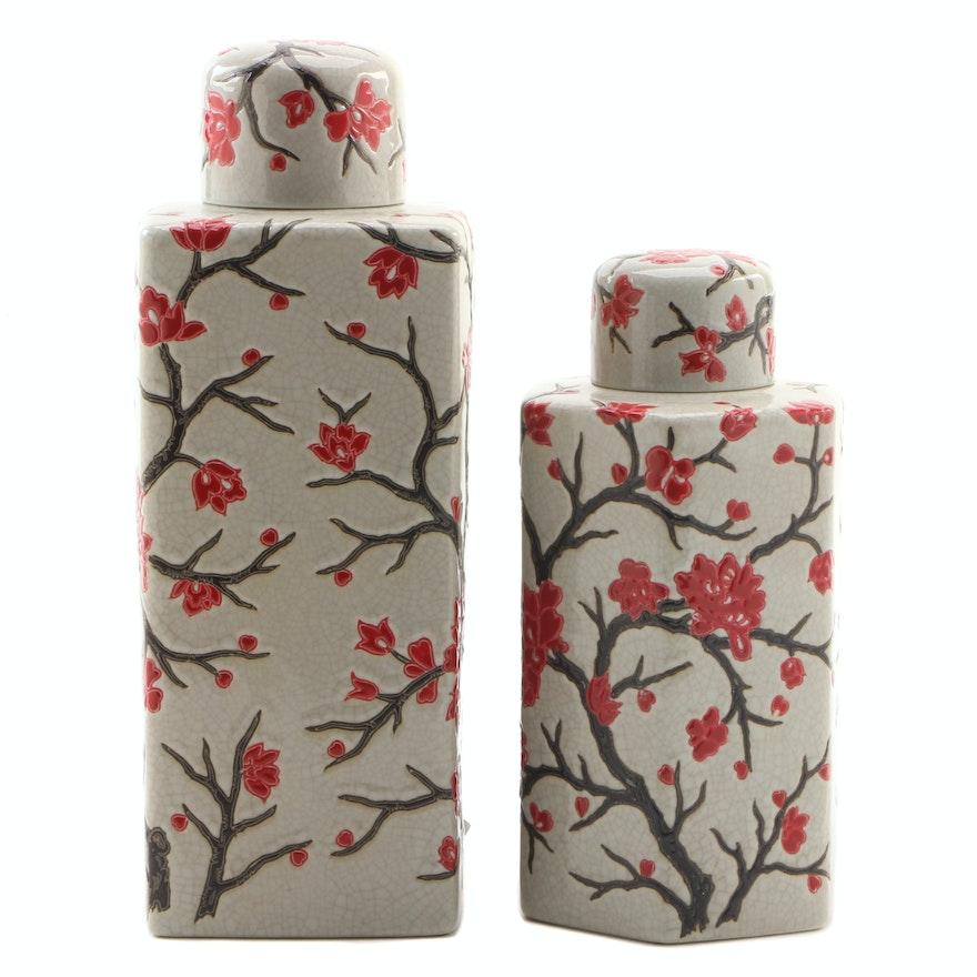 Ceramic Crackle Glaze Lidded Jars with Floral Motif