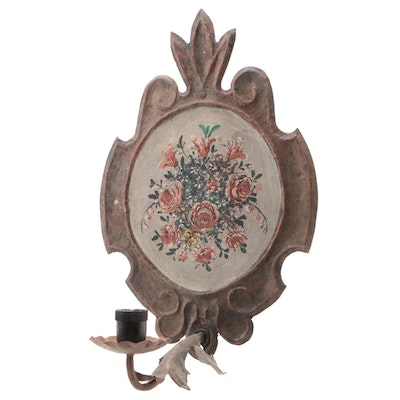 Tole Hand Painted Stamped Tin Candle Sconce, Antique