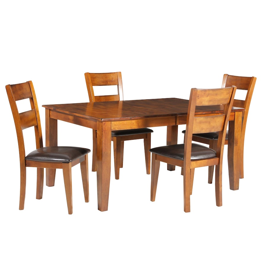 Contemporary Hardwood Dining Table and Chairs