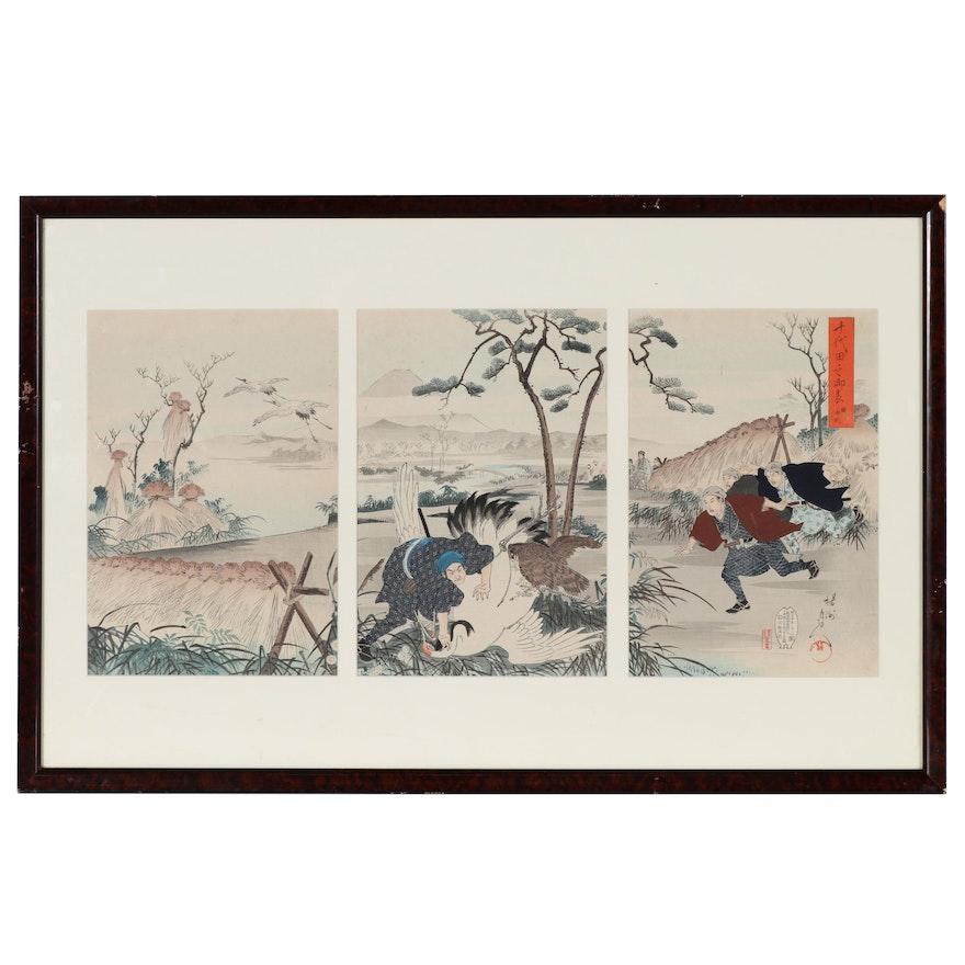 """Toyohara Chikanobu Woodblock Triptych """"Catching Cranes"""", 1898"""