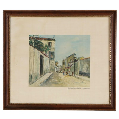 "Offset Lithograph After Maurice Utrillo ""Cercle Catholique du Sacre-Coeur"""