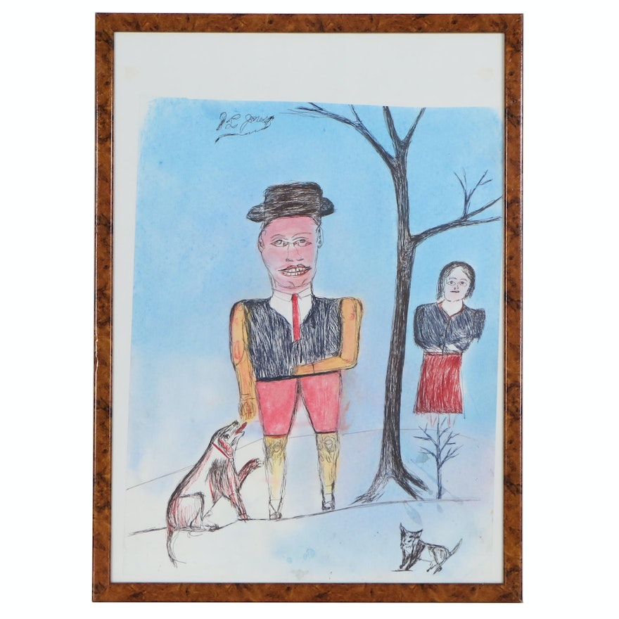 S.L. Jones Mixed Media Folk Drawing of Couple with Dog and Cat