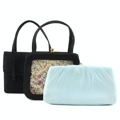 Needlepoint, Chiffon Overlay and Textured Occasion Handbags and Clutch, Vintage