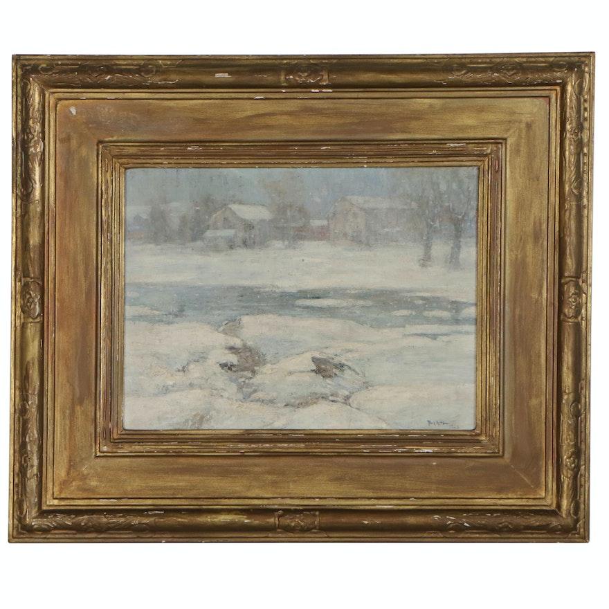 "Paul King Landscape Oil Painting ""Duck Pond Winter"", 1923"