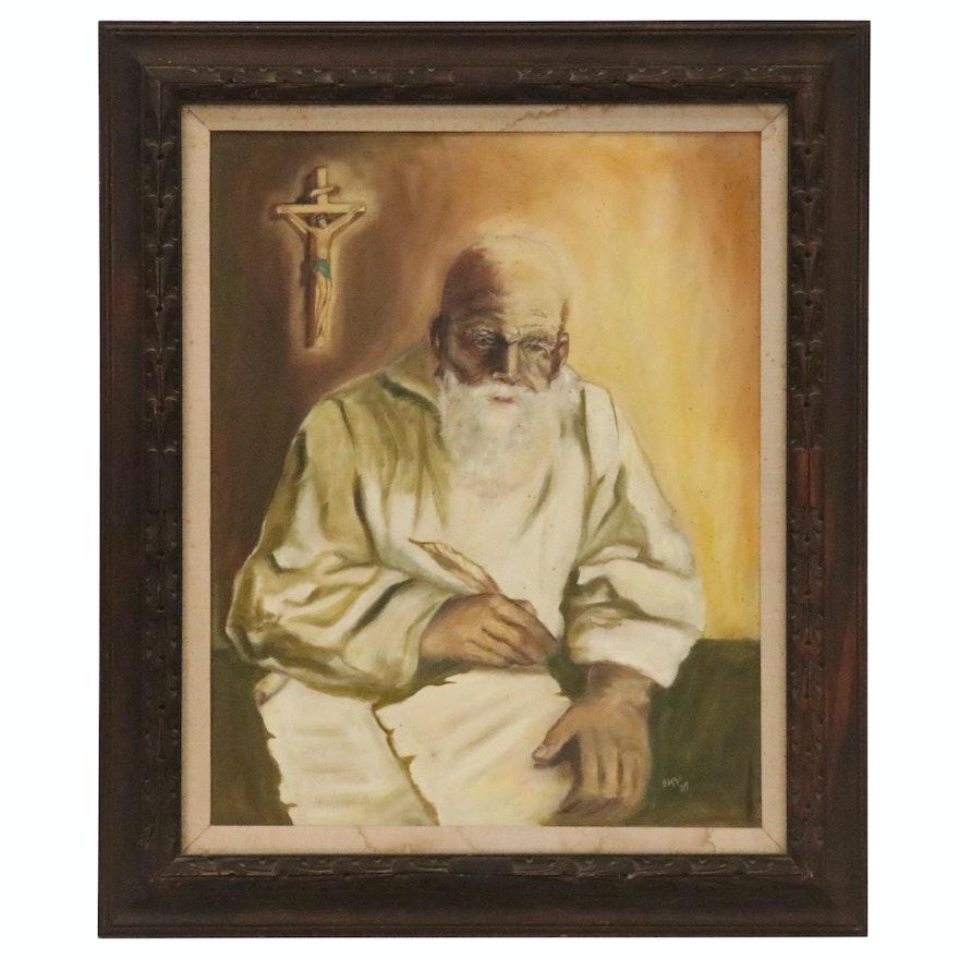 Portrait Oil Painting of Religious Figure, 1969